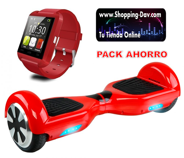 PACK AHORRO PATIN LECTRICO + SMARTWATCH rojo